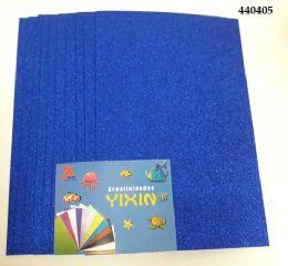"48 Bulk Eva Foam W/ Glue And Glitter 12""x12"" 10 Sheets In Royal Blue"