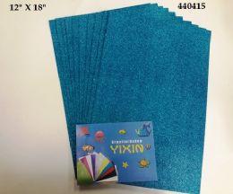 "48 Bulk Eva Foam W/ Glue And Glitter 12""x12"" 10 Sheets In Torquoise"