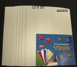 """48 Bulk Eva Foam W/ Glue And Glitter 12""""x12"""" 10 Sheets In White"""