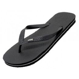 48 Bulk Women's Rubber Zori / Flip Flop ( *black Only )