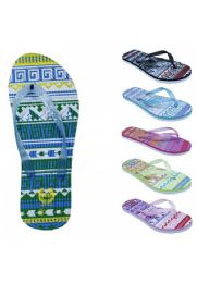 72 Bulk Womens Fashion Sandals With A Glittery Strap And Weaved Base