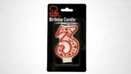 """72 Bulk Numeral Candle #3- Red Outline 3"""""""