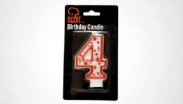 """72 Bulk Numeral Candle #4- Red Outline 3"""""""
