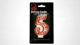 """72 Bulk Numeral Candle #5- Red Outline 3"""""""