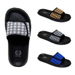 48 Bulk Men's Velcro Slides Diamonds Assorted Colors