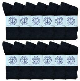 240 Bulk Yacht & Smith Women's Cotton Crew Socks Black Size 9-11