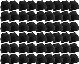 60 Bulk Yacht & Smith Unisex Winter Warm Beanie Hats In Solid Black