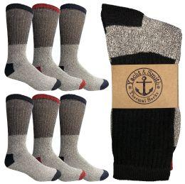 60 Bulk Yacht & Smith Mens Thermal Socks, Warm Cotton, Sock Size 10-13