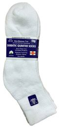 6 Bulk Yacht & Smith Men's Loose Fit NoN-Binding Soft Cotton Diabetic Quarter Ankle Socks,size 10-13 White
