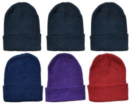 6 Bulk Yacht & Smith Ladies Winter Toboggan Beanie Hats In Assorted Colors