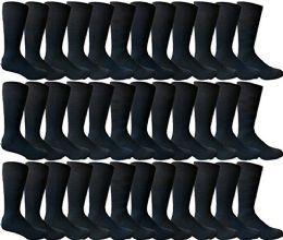 36 Bulk Yacht & Smith Men's Navy Textured Dress Socks Size 10-13