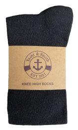 6 Bulk Yacht & Smith Women's Knee High Socks, Solid Black 90% Cotton Size 9-11