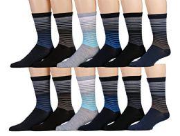 12 Bulk Yacht & Smith Mens Dress Socks, Cotton Blend Assorted Patterns