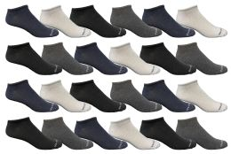 24 Bulk Yacht & Smith Mens Ankle Socks, No Show Athletic Sports Socks 24 Pair Pack