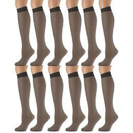 12 Bulk Yacht & Smith Trouser Socks For Women, 20 Denier Opaque Knee High Dress Socks