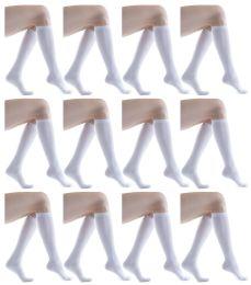 12 Bulk Yacht & Smith 90% Cotton White Knee High Socks For Girls