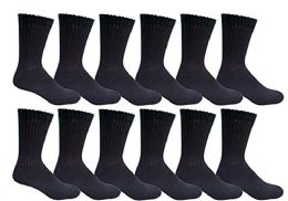 12 Bulk Yacht & Smith Men's King Size Loose Fit NoN-Binding Cotton Diabetic Crew Socks Black Size 13-16