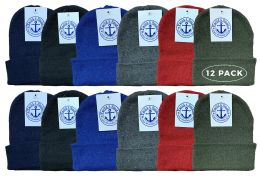 12 Bulk Yacht & Smith Kids Winter Beanie Hat Assorted Colors