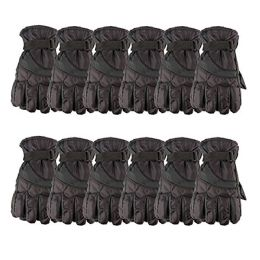 12 Bulk Yacht & Smith Mens Winter Warm Waterproof Ski Gloves, One Size Fits All Black
