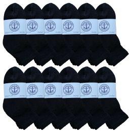 12 Bulk Yacht & Smith Kids Cotton Quarter Ankle Socks In Black Size 4-6