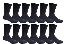 6 Bulk Yacht & Smith Men's King Size Loose Fit NoN-Binding Cotton Diabetic Crew Socks Black Size 13-16