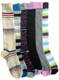 6 Bulk 6 Pairs Of Mod And Tone Woman Designer Knee High Socks, Boot Socks (pack b)