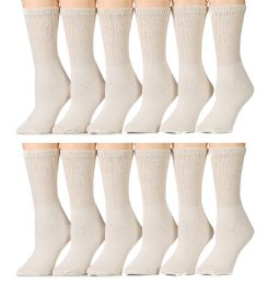 12 Bulk Yacht & Smith Women's Diabetic Crew Socks, RinG-Spun Cotton Tan