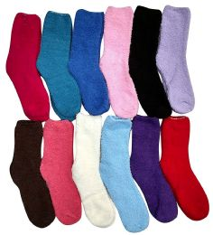 12 Bulk Yacht & Smith Women's Solid Colored Fuzzy Socks Assorted Colors Size 9-11