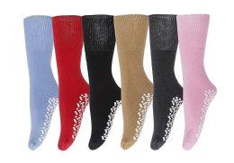 6 Bulk Yacht & Smith Women's Thermal NoN-Slip Tube Socks, Gripper Bottom Socks