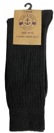 12 Bulk Yacht & Smith Mens Fashion Designer Dress Socks, Cotton Blend, Solid Black Dress Sock