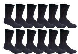 12 Bulk Yacht & Smith Kids Cotton Crew Socks Black Size 4-6