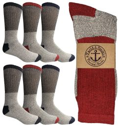 6 Bulk Yacht & Smith Mens Thermal Socks, Warm Cotton, Sock Size 10-13