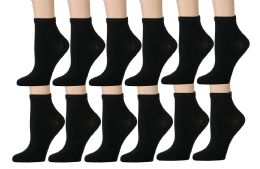 12 Bulk Yacht & Smith Kids Cotton Quarter Ankle Socks In Black Size 6-8