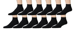 12 Bulk Yacht & Smith Men's King Size Loose Fit NoN-Binding Cotton Diabetic Ankle Socks Black Size 13-16