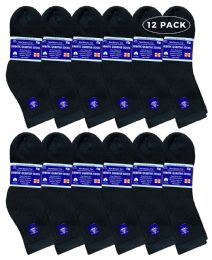12 Bulk Yacht & Smith Women's Diabetic Cotton Ankle Socks Soft NoN-Binding Comfort Socks Size 9-11 Black
