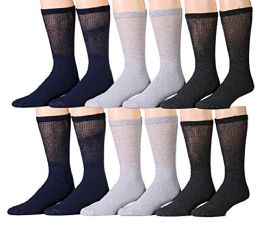 12 Bulk 12 Pairs Unisex White Diabetic Socks For Neuropathy, Edema, Circulation, Comfort, By Socksnbulk (9-11, Assorted (black, Heather Grey, Charcoal Grey))