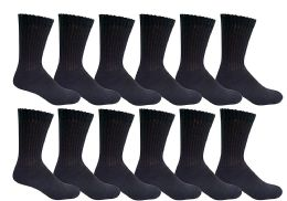12 Bulk Yacht & Smith Women's Cotton Crew Socks Black Size 9-11