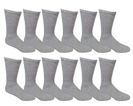 12 Bulk Yacht & Smith Women's Cotton Crew Socks Gray Size 9-11