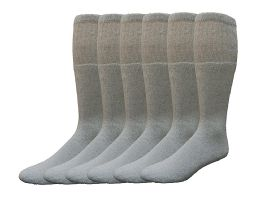 6 Bulk Yacht & Smith Men's Cotton 28 Inch Tube Socks, Referee Style, Size 10-13 Solid Gray
