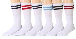 6 Bulk Yacht & Smith Women's Cotton Striped Tube Socks, Referee Style Size 9-15 22 Inch