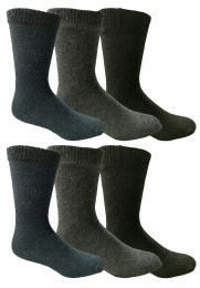 6 Bulk Yacht & Smith Men's Thermal Crew Socks, Cold Weather Thick Boot Socks Size 10-13