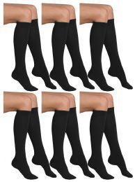 6 Bulk Yacht & Smith Girls Knee High Socks, Solid Colors Black