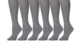 6 Bulk Yacht & Smith 90% Cotton Heather Gray Knee High Socks For Girls