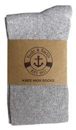 6 Bulk Yacht & Smith Women's Knee High Socks, Solid Gray 90% Cotton Size 9-11