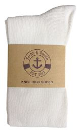 6 Bulk Yacht & Smith Womens Knee High Socks, Solid White 90% Cotton Size 9-11