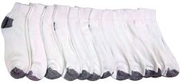 12 Bulk Yacht & Smith Kids Ankle Socks, Low Cut, Quarter Length, Size 4-6,white With Gray Heel And Toes