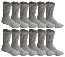 12 Bulk Yacht & Smith Mens Terry Lined Merino Wool Thermal Boot Socks