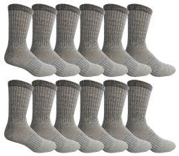 12 Bulk Yacht & Smith Mens Terry Lined Merino Wool Thermal Boot Socks
