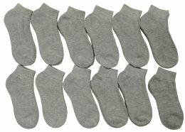 12 Bulk Yacht & Smith Kids Cotton Quarter Ankle Socks In Gray Size 4-6