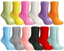 12 Bulk Yacht & Smith Women's Solid Colored Fuzzy Socks Assorted Colors, Size 9-11